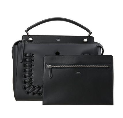 Whipstitch DotCom Handbag / Black With Black Pouch