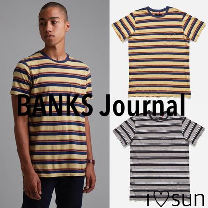 Stripes Street Style U-Neck Cotton Short Sleeves T-Shirts