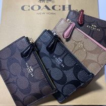 Coach SIGNATURE Monogram Blended Fabrics PVC Clothing Card Holders