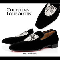 Christian Louboutin Loafers Velvet Other Animal Patterns Loafers & Slip-ons