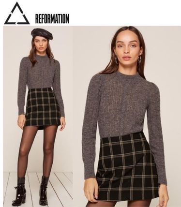 Pencil Skirts Short Other Check Patterns Wool Skirts