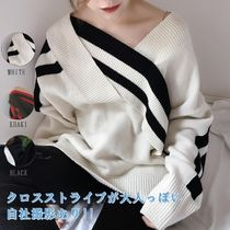 Cable Knit Stripes Casual Style Wool Boat Neck Plain Medium