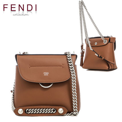 2WAY Plain Leather Party Style Shoulder Bags