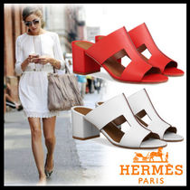 HERMES Open Toe Casual Style Plain Block Heels Heeled Sandals