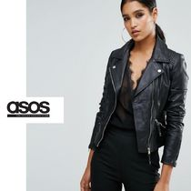 ASOS Short Casual Style Plain Leather Biker Jackets