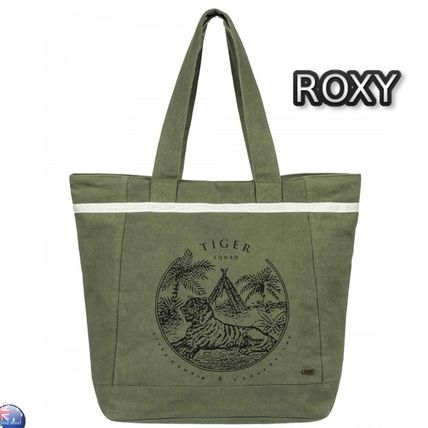 Tropical Patterns Casual Style Plain Khaki Totes