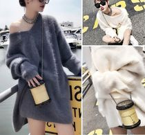 Casual Style V-Neck Long Sleeves Plain Oversized Sweaters