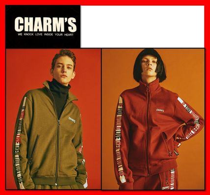 Charm's More Tops Unisex Long Sleeves Cotton Logos on the Sleeves Tops