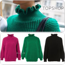 TOPSHOP Crew Neck Casual Style Plain Medium Puff Sleeves Sweaters