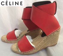 CELINE Open Toe Blended Fabrics Plain Leather Elegant Style