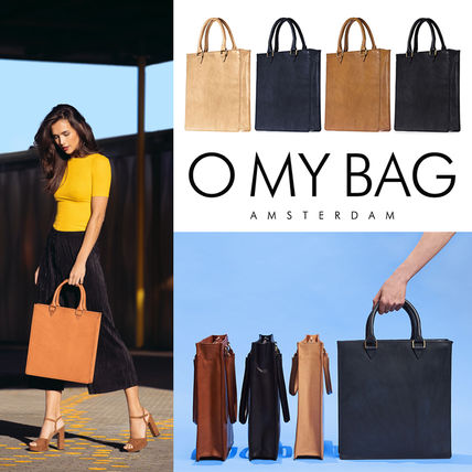 Unisex A4 Plain Leather Handmade Office Style Totes