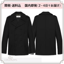 Saint Laurent Wool Plain Long Peacoats Coats