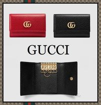 GUCCI GG Marmont Unisex Plain Leather Keychains & Holders