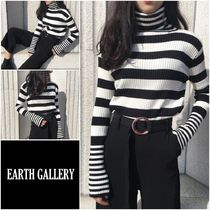 Stripes Casual Style Rib Street Style Long Sleeves Medium