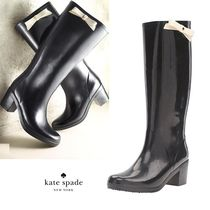 kate spade new york Round Toe Casual Style Plain Block Heels Over-the-Knee Boots