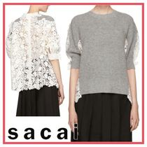 sacai Short Flower Patterns Casual Style Wool Short Sleeves