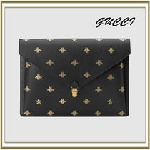 GUCCI Unisex Bag in Bag A4 Plain Other Animal Patterns Leather