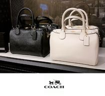 Coach Casual Style 2WAY Plain Leather Dark Brown Shoulder Bags