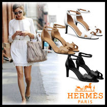HERMES Open Toe Casual Style Plain Leather Pin Heels Heeled Sandals