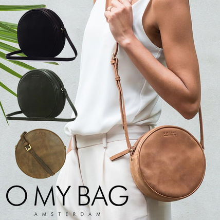 Casual Style Plain Leather Handmade Shoulder Bags