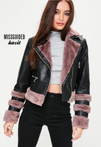 Missguided Casual Style Faux Fur Biker Jackets