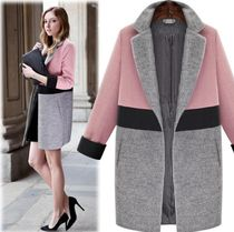 Wool Bi-color Long Office Style Chester Coats