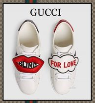 GUCCI Round Toe Rubber Sole Casual Style Blended Fabrics Leather