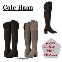 Cole Haan Plain Toe Suede Plain Chunky Heels Over-the-Knee Boots