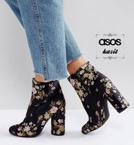 ASOS Flower Patterns Block Heels Ankle & Booties Boots