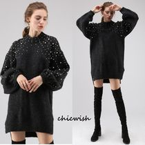 Chicwish Long Sleeves Plain Long High-Neck With Jewels Elegant Style