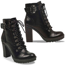 Guess Lace-up Casual Style Faux Fur Street Style Plain Block Heels