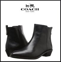 Coach Plain Leather Block Heels Ankle & Booties Boots