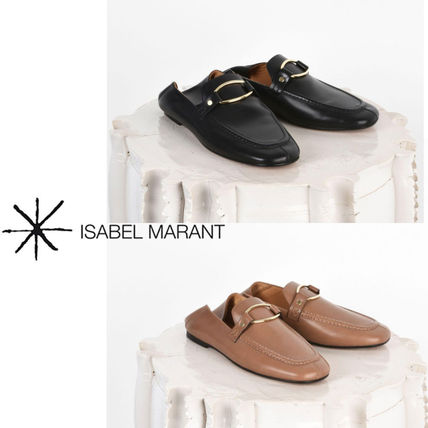Plain Toe Casual Style Plain Leather Slippers Slip-On Shoes