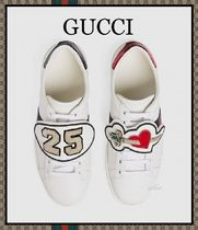 GUCCI Heart Round Toe Rubber Sole Casual Style Unisex