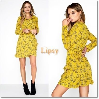 Wrap Dresses Short Flower Patterns Long Sleeves Party Style