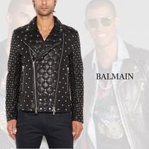 BALMAIN Short Plain Leather Biker Jackets