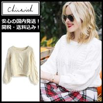 Chicwish Cable Knit Rib Long Sleeves Plain Cotton Medium