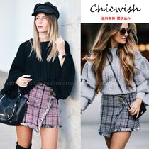 Chicwish Pencil Skirts Short Tartan Casual Style Tweed Fringes Skirts