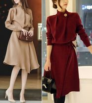 Flared Long Sleeves Medium Dresses