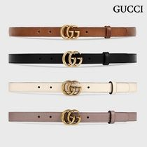GUCCI Leather Belt With Double G Buckle (Black/Beige/White/Brown)