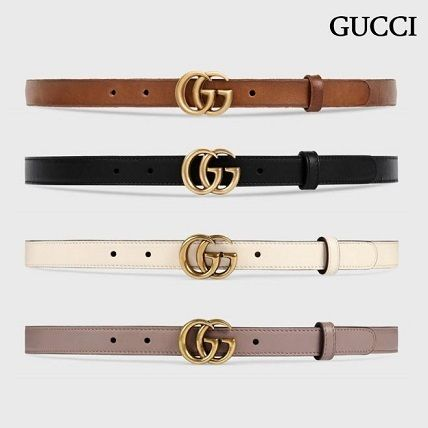 fb7ded5411c ... GUCCI Belts Leather Belt With Double G Buckle (Black Beige White Brown  ...