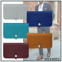 HERMES Unisex Calfskin Plain Bold Long Wallets