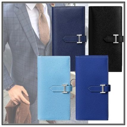 Calfskin Blended Fabrics Street Style Plain Long Wallets