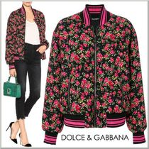 Dolce & Gabbana Short Flower Patterns Elegant Style Varsity Jackets