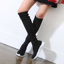 Platform Round Toe Casual Style Plain Sock Boots