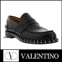 VALENTINO Plain Toe Loafers Studded Plain Leather Loafers & Slip-ons