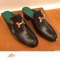 HERMES CONSTANCE Elegant Style Chunky Heels Loafer Pumps & Mules