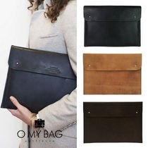 O MY BAG Unisex Plain Leather Office Style Clutches