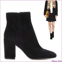 Gianvito Rossi Suede Plain Elegant Style Chunky Heels Ankle & Booties Boots
