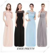 Ever-Pretty Crew Neck Flared Long Short Sleeves Lace Dresses